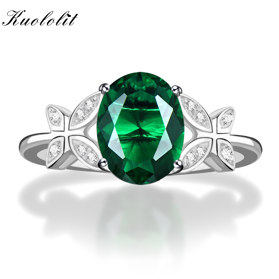 Kuololit Solid 925 Sterling Silver Rings For Women Emerald Gemstone Ring Butterfly Wedding Engagement Band Custom Name Jewelry