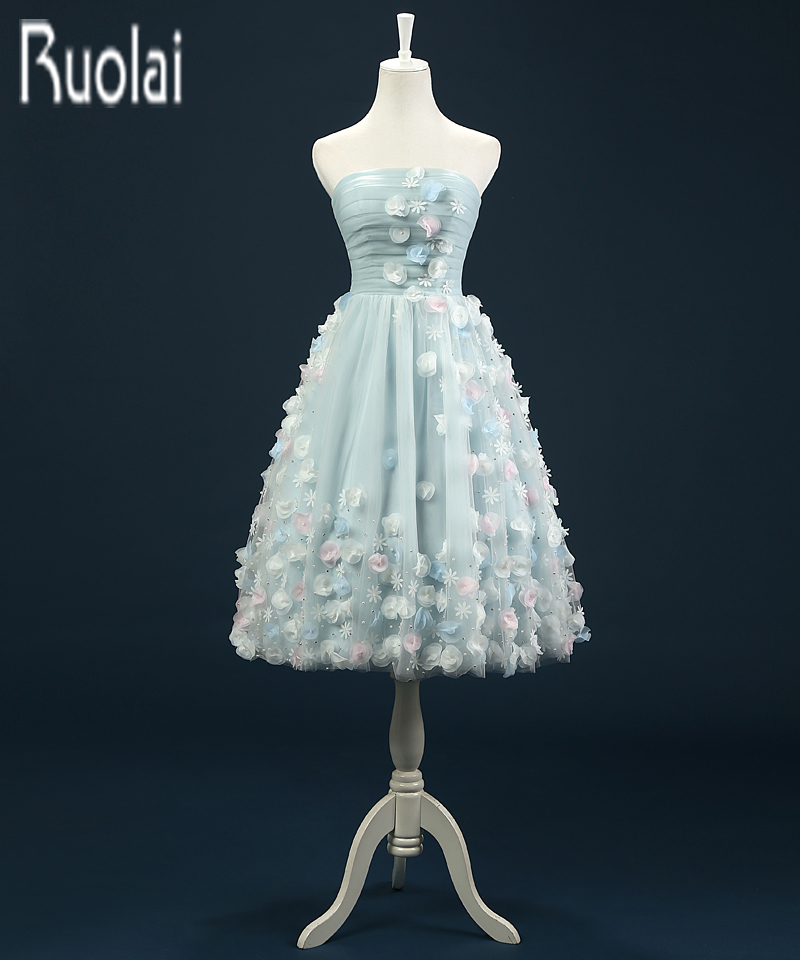 Real Sample New Arrival Charming Knee Length Tulle Flowers Applique   Prom     Dresses   For Wedding Party Plus Size