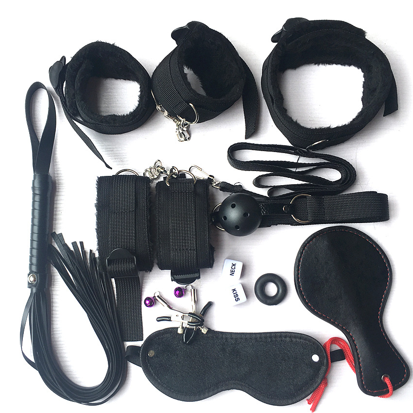 <font><b>10</b></font> Pcs Lovers Flirting Foreplay Adult Games Dice BDSM <font><b>Sex</b></font> Bondage Set Porno <font><b>Sex</b></font> Handcuffs Erotic Accessories Whip Rope SM Kit image