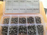 M2 stainless steel hexagon socket head cap screw set(450pcs screw+200pcs nut)