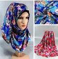 Desigual primavera de cetim de seda de varejo xadrez infinito islâmico ninja bandana xaile do lenço muçulmano hijab impresso