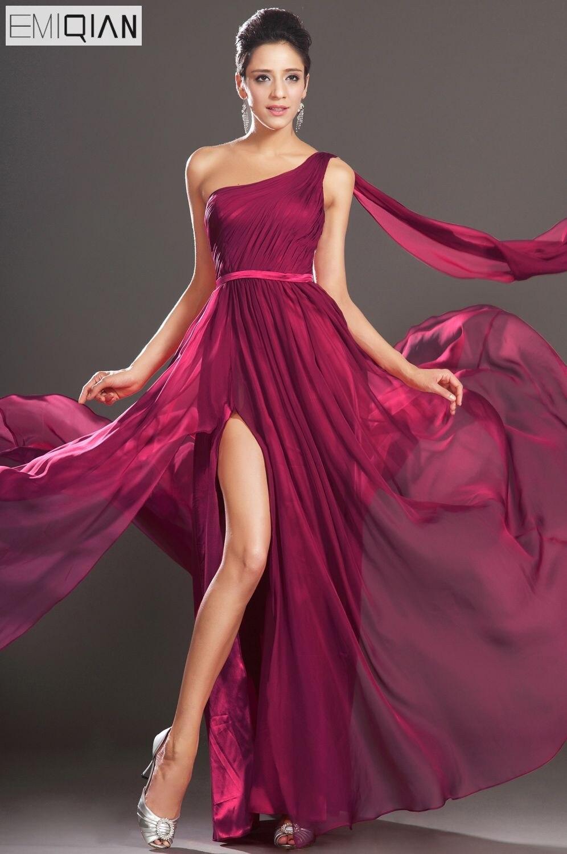 Free Shipping New Gorgeous One Shoulder Scoop Neckline Sash Chiffon   Evening     Dress