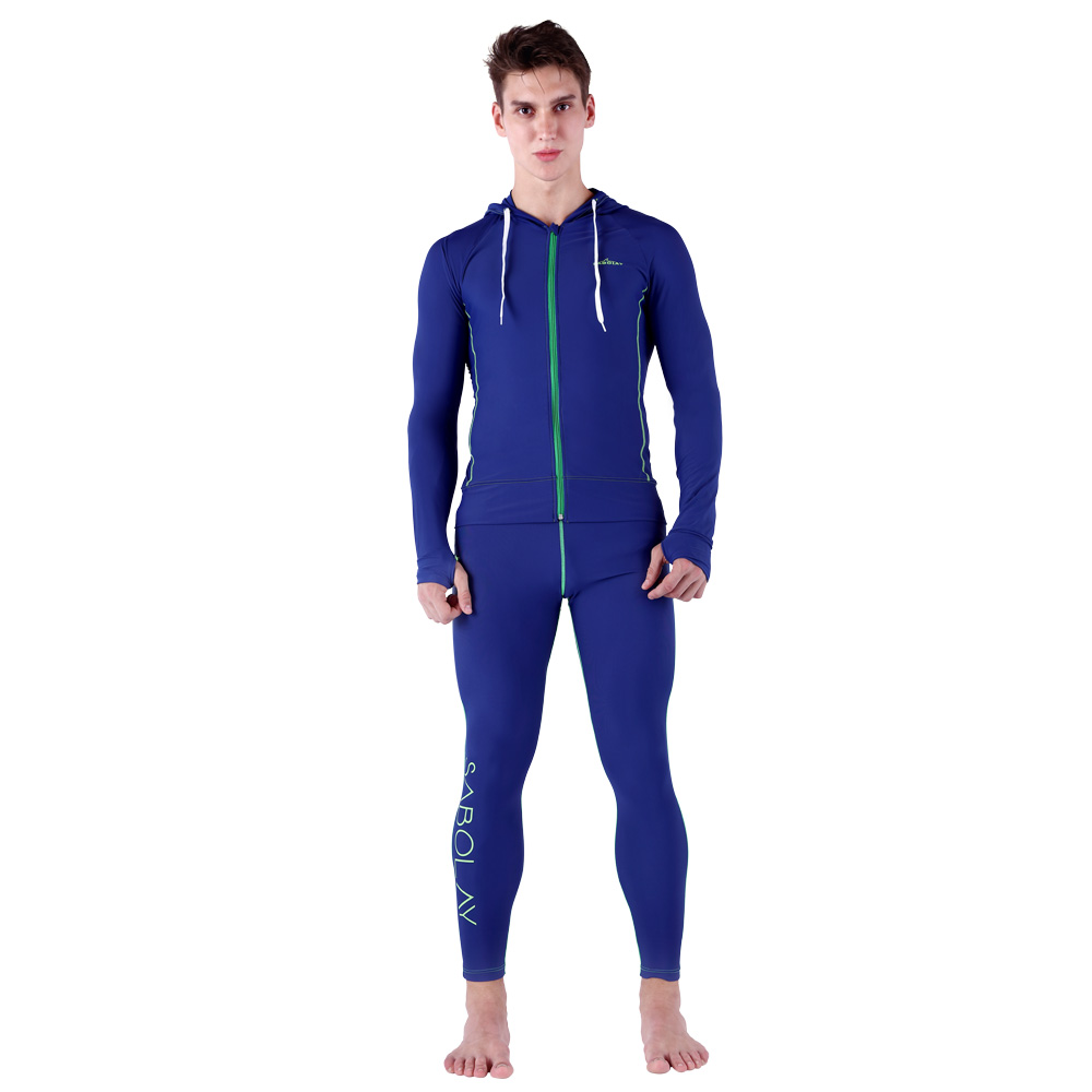 SABOLAY Men Long Sleeve Surf Top Diving Tops Rashguards Swimsuit Sunscreen Long Pants Swimming Shirt Rash Guard