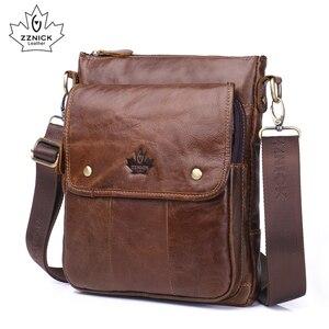 Image 3 - mens genuine leather shoulder bag Messenger Bag Flap ipad men bag style bag Solid male Business 2018 new ZZNICK