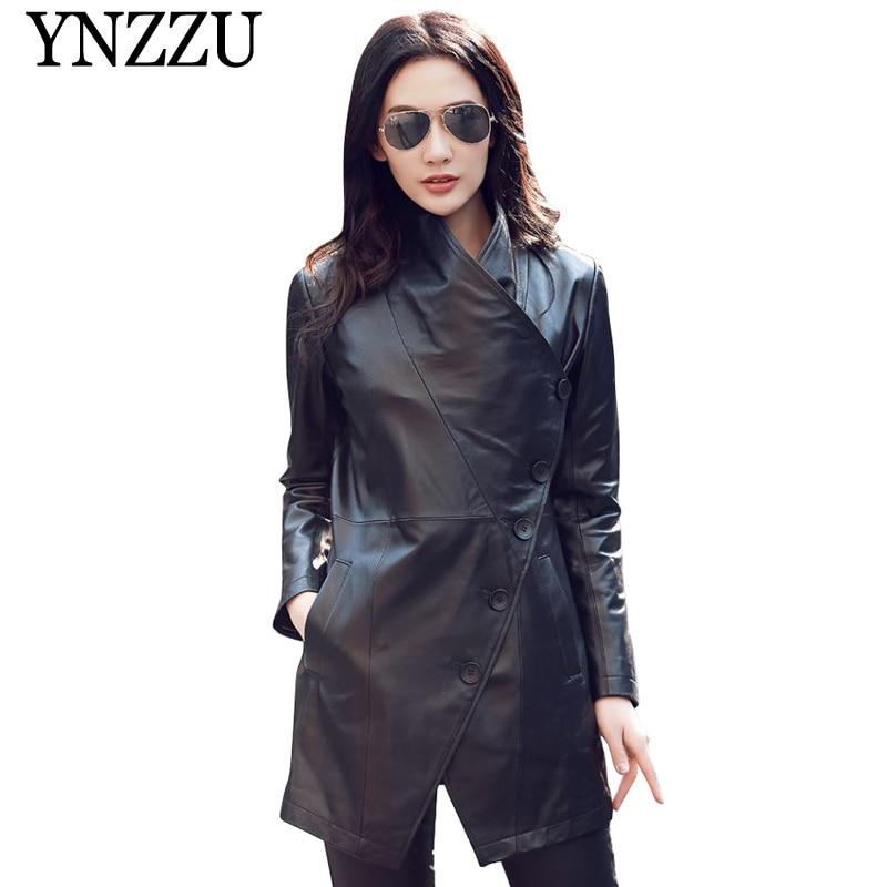 YNZZU 2019 Plus size Black women   leather   jacket Button long sleeve turn down collar PU coat Autumn Slim bike Faux jacket YO852
