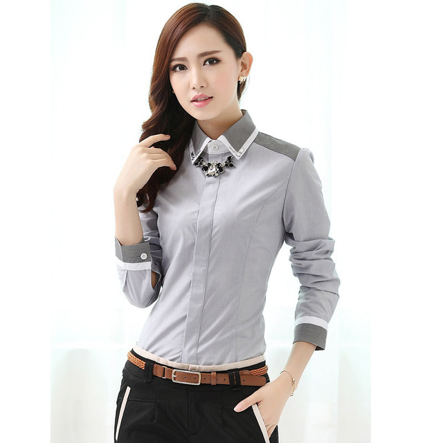 New 2017 spring fall formal women gray shirts fashion for Shirt styles for ladies