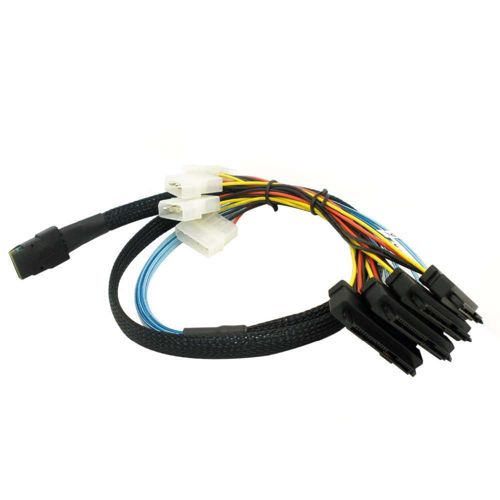 100cm Internal 36 Pin Mini SAS SFF-8087 Host to 4x SFF-8482 device SAS 29Pin Hard Disk ,Power by Molex 4pin interface  an internal hard disk for sewx3d11z 541 4385 600gb 10k sas 2 5 well tested working
