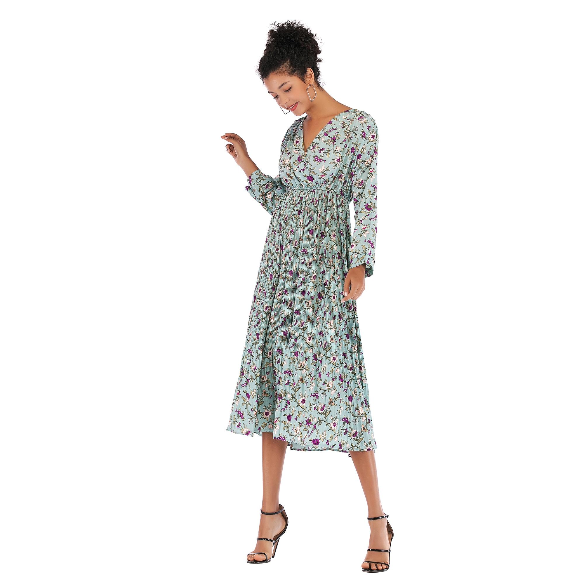 VZFF Women Summer Multicolor Small Floral Chiffon  Maxi Dress V neck Long Sleeved Shirred High Waist Hem 2019 Spring Dresses
