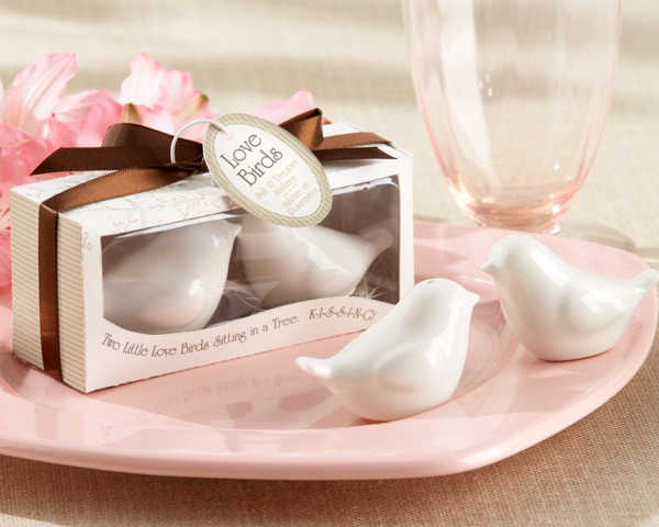 "Wedding favor ""Lovebirds in the Window"" Ceramic Salt & Pepper Shakers caster of creative life (1set = 2 pcs)"