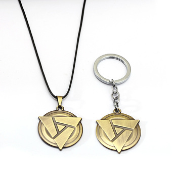 FASHION Game Keychain Necklace Dota 2 Atifact Pendants Metal Keyring Geometric Metal Chaveiro Accessory 2