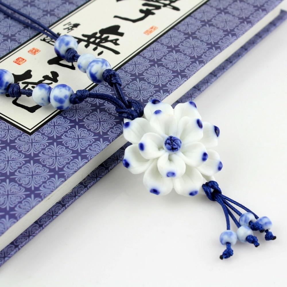 Handmake Vintage Lotus Flower Pendant Kalung Sweater Rantai Biru dan - Perhiasan fesyen - Foto 5