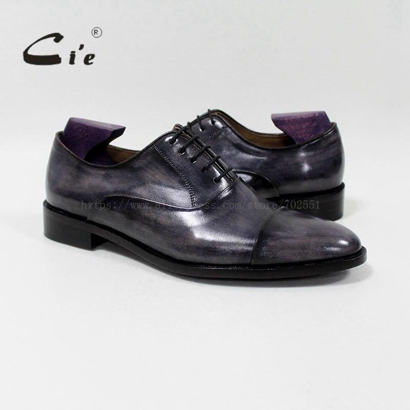 Cie جولة captoe العجل جلد الرجال الأحذية اليدوية 100% جلد العجل جلد طبيعي تسولي تنفس بليك الزنجار OX 05 02 الرمادي-في أحذية رسمية من أحذية على  مجموعة 1