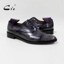 Cie جولة captoe العجل جلد الرجال الأحذية اليدوية 100% جلد العجل جلد طبيعي تسولي تنفس بليك الزنجار OX 05 02 الرمادي