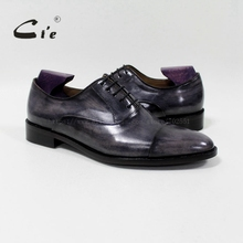 Cie yuvarlak captoe buzağı deri erkek ayakkabısı El Yapımı 100% Hakiki buzağı deri taban nefes blake bağlama patina gri OX 05  02