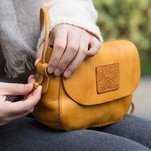 Image 3 - AETOO Original design handbags handmade leather casual Messenger bag Sen series literary retro leather mini saddle bag