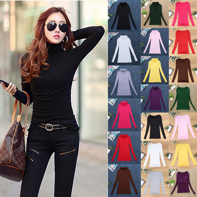 10 Colors Women Elastic Sweaters Autumn Winter Wool Turtleneck Jumper Long Sleeve Basic Tops Shirts Female Solid Slim Pullover