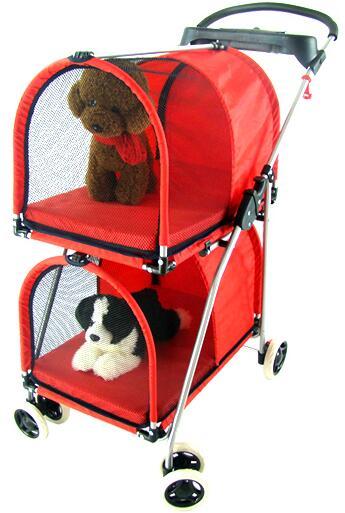 Folding Twins Dog Cart Portable Double Pet Trolley Washable Pet Stroller