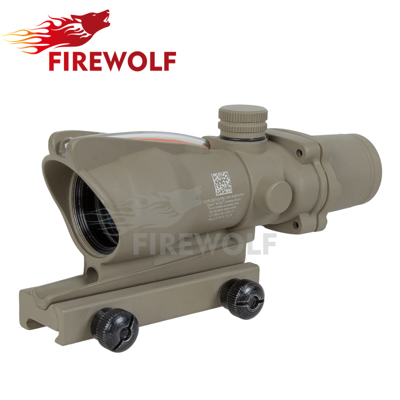 Outdoor sports Good ACOG 4X32 Fiber Source Red Illuminated Scope Tan color Tactical Hunting Riflescope Free shipping