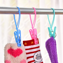12pcs Colorful Clothespins Hook Laundry Clips Multipurpose Bra Socks Hanger Pegs Racks Anti Wind Socks Clips Dryer Airer(China)