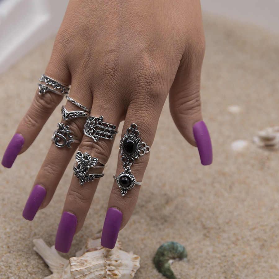 Совет: Винтаж старинное серебро панк черный опал набор колец для Для женщин резные кольца палец вечерние пляжные кольца 10 шт./компл.