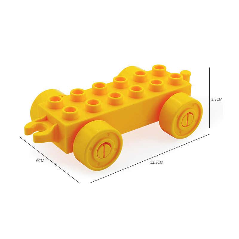 ロックデュプロ列車車ボトムビッグサイズ moc アクセサリー duploe 部品と互換性の子供のビルディングブロックのおもちゃギフト