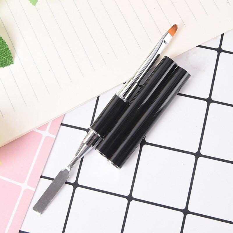17cm Gel Tips Building Carving Pen Nylon Hair Flat Pusher For Nail Tips Dual-ended Builder UV & Poly Gel Nail Brush Extension