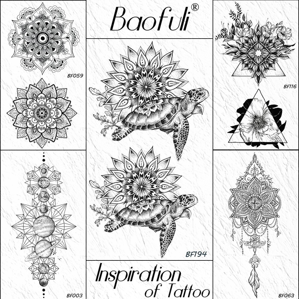 Baofuli Black Henna Arm Tattoo Turtle Mandala Flower Painting Temporary Tattoo Sticker Fake Tattoos Women Waterproof Tatoo Art