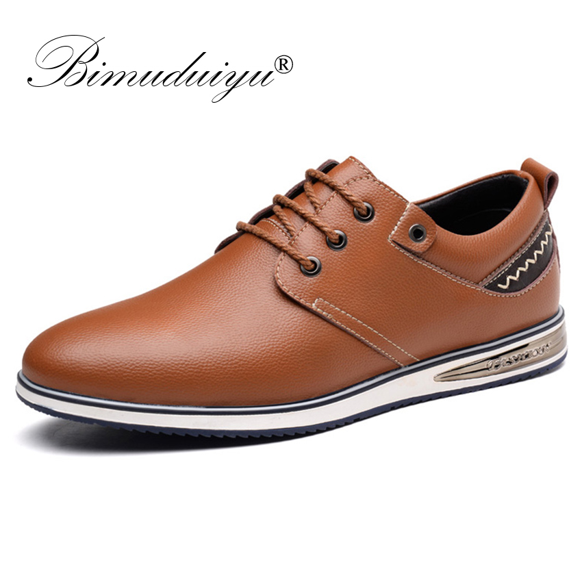 BIMUDUIYU New Fashion Men Casual Leather Shoes Genuine Leather Men's Flats Black Brown Soft Comfort Business Breathable Shoes x9055 1 casual genuine leather flats shoes elevate high 6cm for fashion boys match jeans color brown black sz37 43