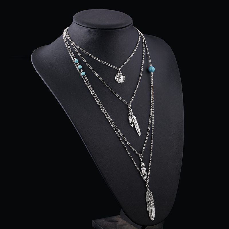 Hot multidimensional turquoise necklace bohemian antique silver leaf Maxi Necklaces and Pendants Long Necklace Chain N167