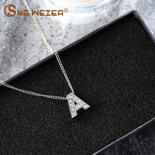 SHE WEIER zircon letter choker silver chain pendant necklace women female chocker neckless stainless steel jewelry accessories(China)