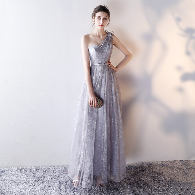 Simple Grey One Shoulder Lace Up Robe De Soiree Pleated Long Lace Bridesmaid Dresses Wedding Party