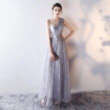 6b0550d95c Proste szary jedno ramię koronki Up szata De Soiree plisowane długie  koronkowe sukienki dla druhen suknie