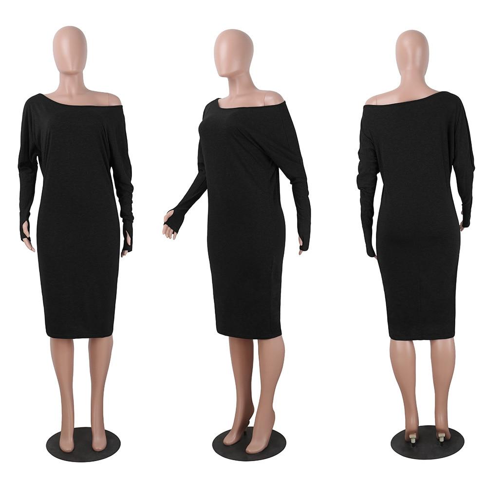 NEW Dress Evening New Year Women Sexy Bodycon Dress One Shoulder Long Sleeve Pencil Female Fashion Midi Dress Black Friday Deals