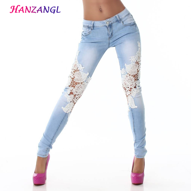 HANZANGL Lace Spliced Both Sides Jeans New Women Fashion Trousers Low Waist Casual blue Female Outwear