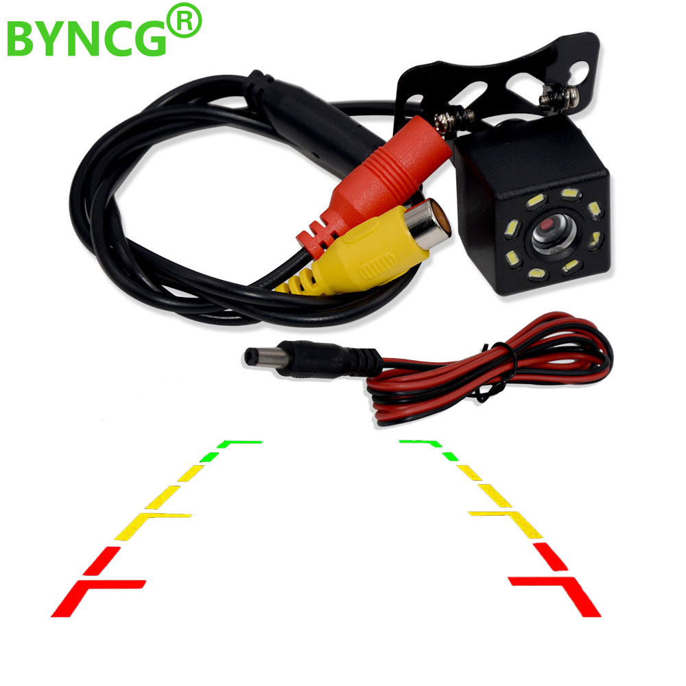BYNCG 8 LED Night Visions Car Rear View Camera Wide Angle HD Color Image Waterproof Universal Backup Reverse Parking Camera