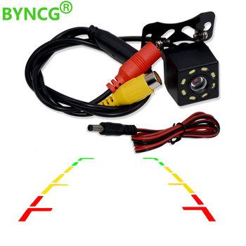 BYNCG 8 LED Night Visions tylna kamera samochodowa szerokokątny kolor HD obraz wodoodporna uniwersalna kamera cofania tanie i dobre opinie Plastikowe + Szkło Drutu Tył Systemy alarmowe Pojazd backup kamery Z tworzywa sztucznego Rear View Camera
