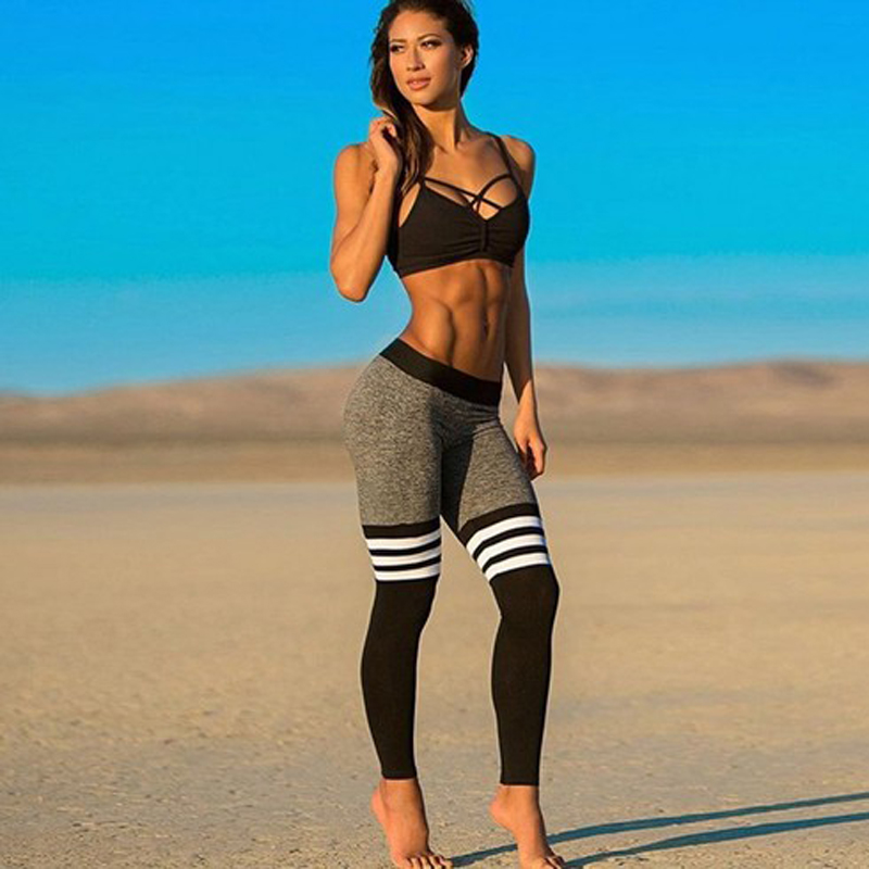 Womens Compression Tights Pants 2017 Brand Fitness Pant Cotton Striped Elastic Dance Pants Tights Sweatpants For Women Summer