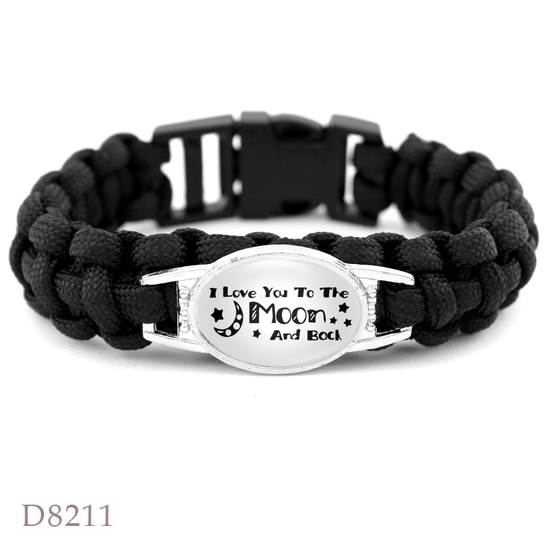 I Love You to the Moon and Back AKA 1908 Puerto Rico Flag Starfish Beach Summer Railway Crossing Survival Paracord Bracelets image