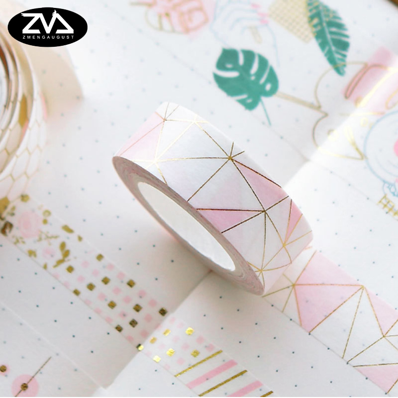 10-30mm*5M Pink Hot stamping Diary Decorative Washi Tape Scrapbooking DIY Sticker Adhesive tape Masking Tape Office stationery цена и фото