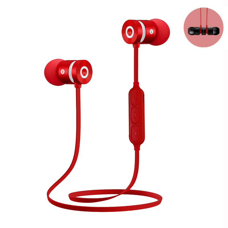 Metal Sports Bluetooth Headphone Earphone Wireless Earpiece With Mic Magnetic Stereo Bluetooth Headset Earbuds for Mobile Phone dirty work