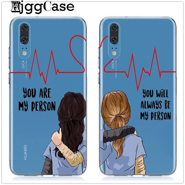 Tu és A Minha Pessoa Para Huawei P8 P9 Lite 2017 Honra 9 10 Companheiro 10 P10 P20 Lite Pro Cinzas anatomia TPU Silicone Macio Tampa da Caixa do telefone