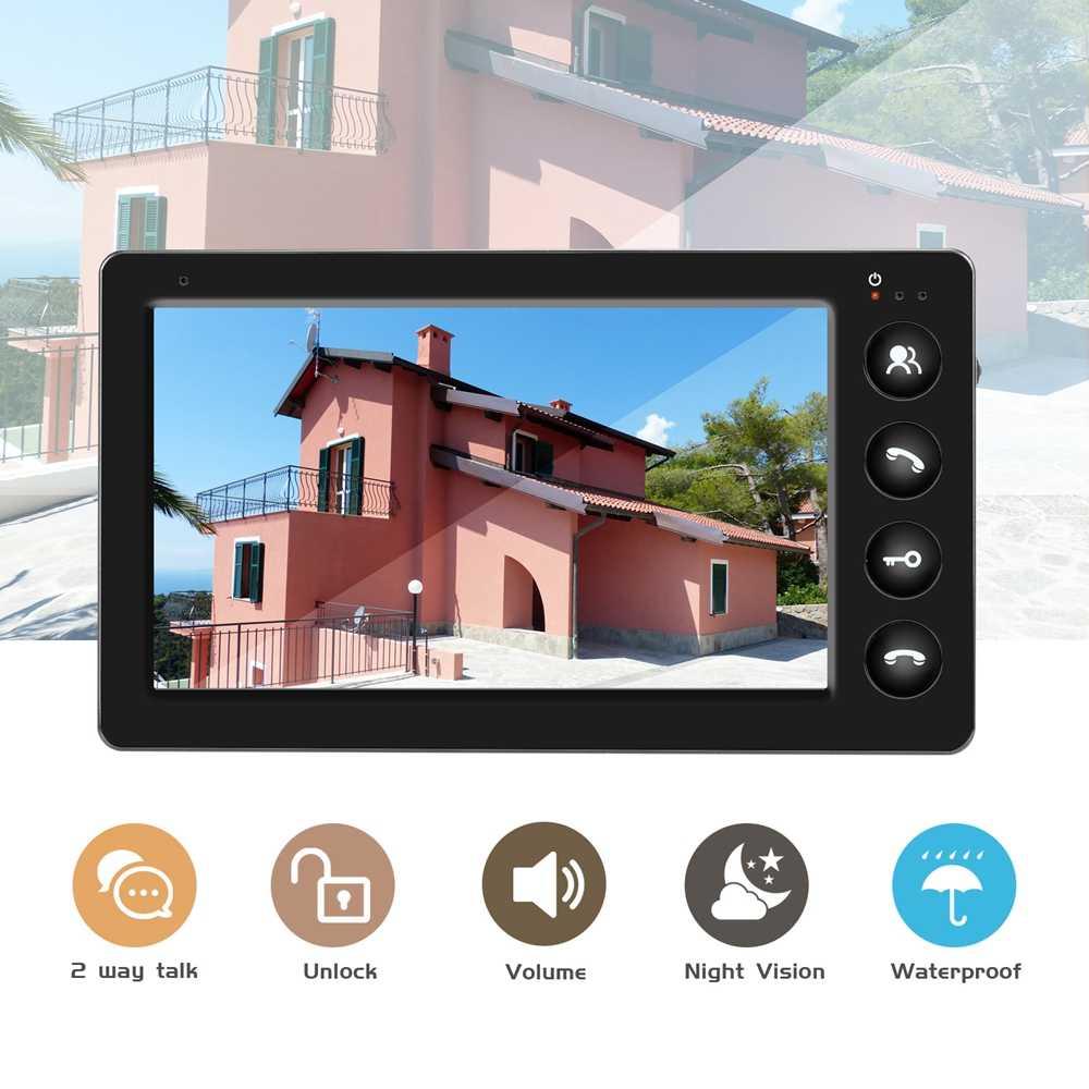 Dragonsview vídeo porteiro com fio telefone da porta de vídeo para o sistema de segurança em casa 7 polegada monitor campainha suporte bloqueio elétrico conectar
