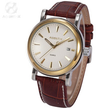 AGENTX Gold Steel Case White Dial Reloje Auto Date Display Analog Brown Leather Band Quartz Men