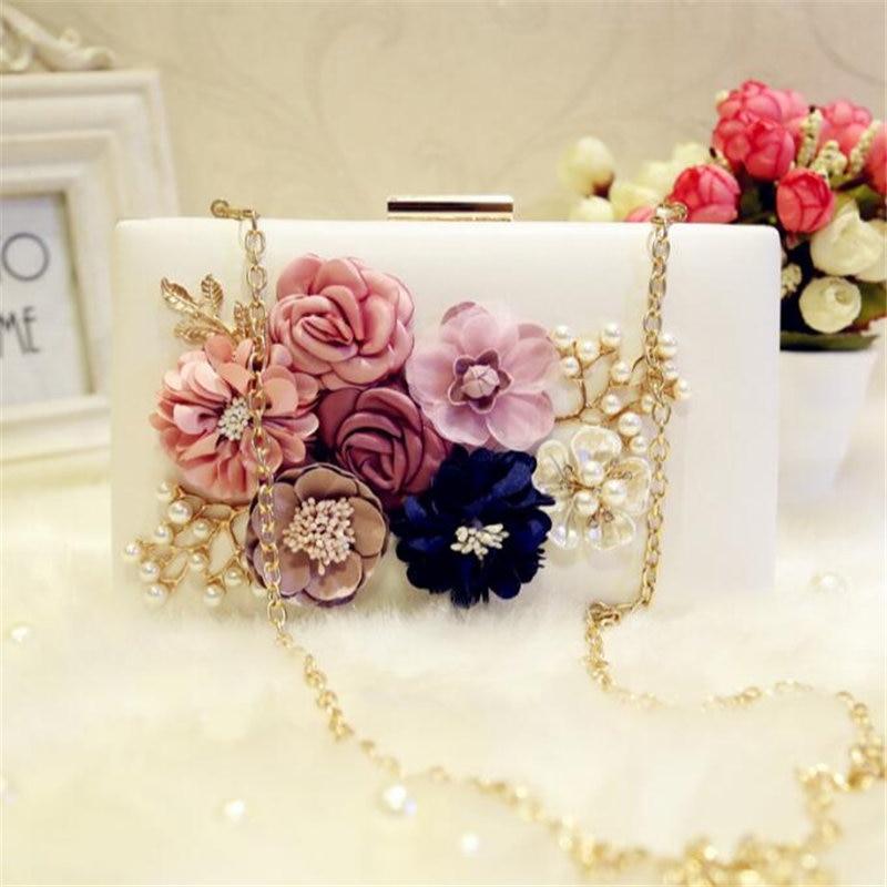 Flores de Tela hecha a mano Bolso de Noche Blanco Rosa Novia de La Boda Bolsa de