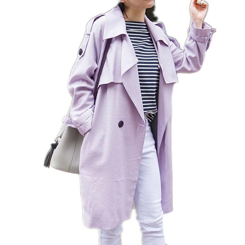 Femme Mode Cape Punk Femmes Lâche Yxl28 vent Coupe casual apricot Longue Tranchée 2018 purple Manteaux Blue Ceinture Vêtements Automne gray Survêtement Light Nouvelle 5qnAfnYxt