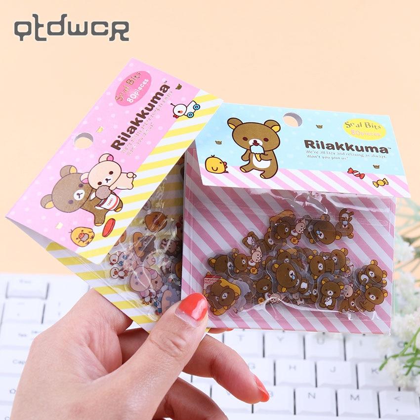 80PCS/lot DIY Kawaii Transparent PVC Stickers Lovely Rilakkuma Sticker Pack for Home Decor Stationery Sticker Office Supplies