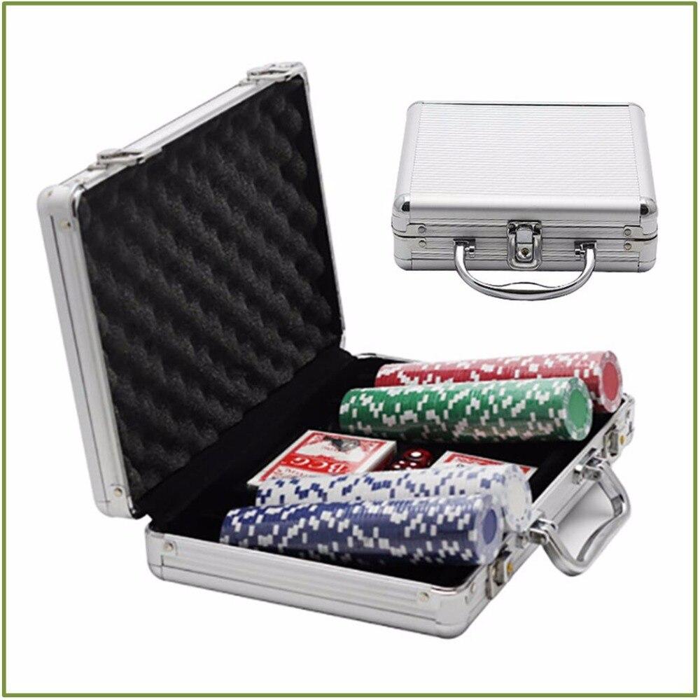 100 pcs/ensemble D'argile Triple Couronne Dés jetons de poker Avec alliage d'aluminium Cas Plateau De Jeu Jeu Party Fun Jeu Monnaie