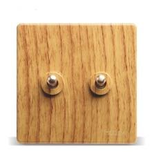 Luxury Yellow Wood Pattern 86 Wall Switch,  2 Gang Way, AC 110 ~ 250V