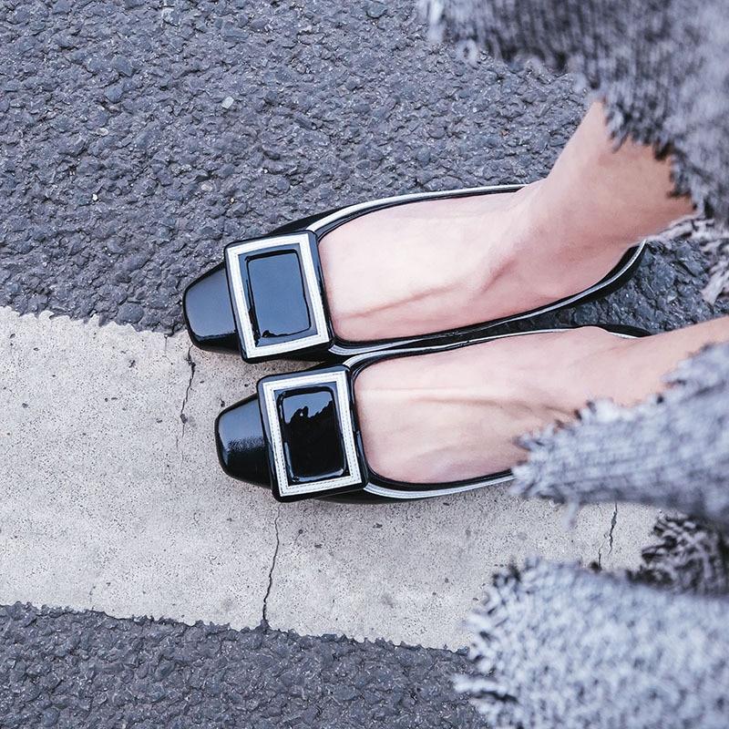 Zapatos Moda caqui De Charol Negro Retro 2018 Versión Casuales Simple Nueva Otoño Coreana Planos xq1CXpHw