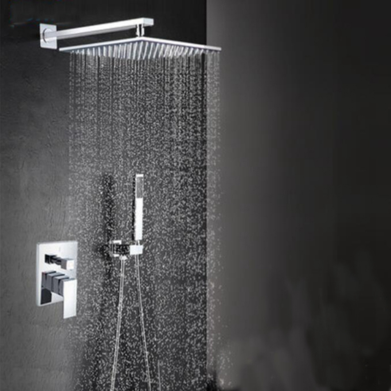 Modern Square Chrome Rain Shower Head Faucet W/ Hand Shower ...